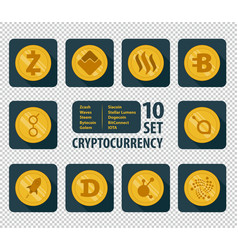 Set of ten different cryptocurrency vector