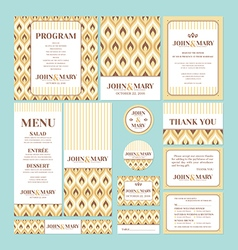 Set of wedding cards vector image vector image