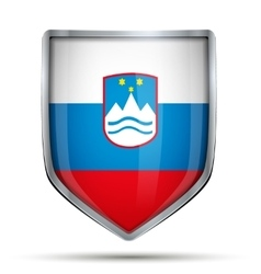 Shield with flag Slovenia vector image vector image