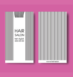 template design card with long straight hair and vector image vector image