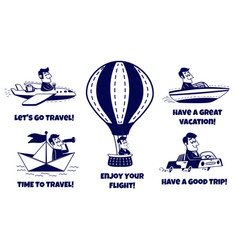 travel icons set happy man traveling vector image vector image