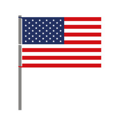 United states flag with pole in colorful vector