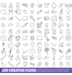 100 creative icons set outline style vector image vector image