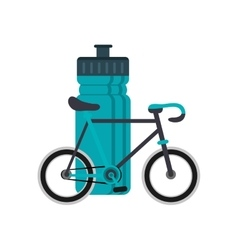 Sports bottle and bike icon vector