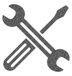 Spanner and screwdriver grainy texture icon vector