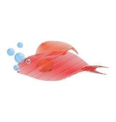 Hand drawing red fish half aquatic environment vector