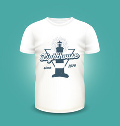 retro nautical label with lighthouse and sunburst vector image