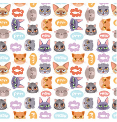 Cats heads seamless pattern vector