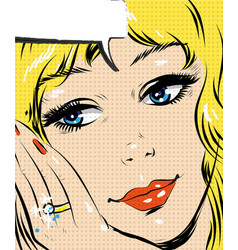 Beautiful blonde smiling pop art woman comic style vector