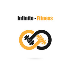 Infinite sign and dumbbell iconinfinitfitness vector