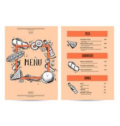 Vintage creative food menu with hand drawn graphic vector