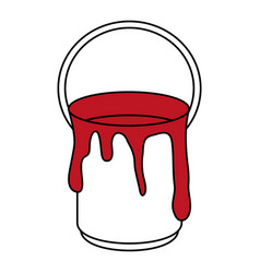 dripping red paint can icon image vector image