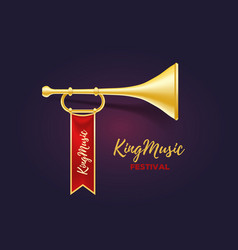 Realistic of shiny golden metal trumpet with red vector