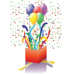 Open surprise gift with balloons vector