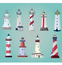 Set of cartoon lighthouses flat icons vector