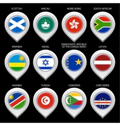 Map marker with flag-set tenth vector