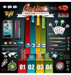 Casino infographic set with world map vector