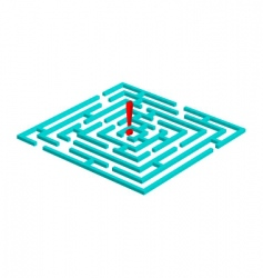 Labyrinth with attention mark vector