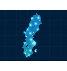 Pixel sweden map with spot lights vector
