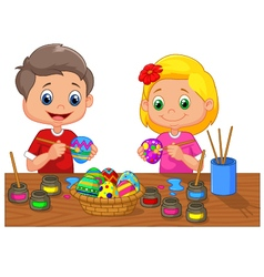 Cartoon kids painting easter egg vector