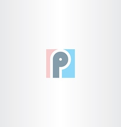 Logo p square letter p sign vector