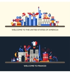 France usa travel banners set with famous french vector