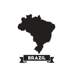 Flat icon in black and white Brazil map vector image