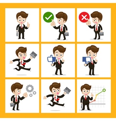Set of 9 businessman in difference action eps10 vector