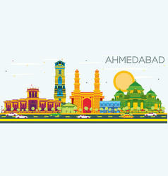 Ahmedabad skyline with color buildings and blue vector