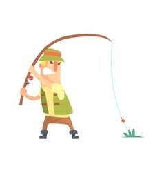 Amateur fisherman in khaki clothes fighting to vector