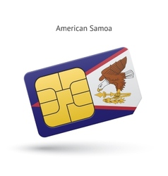 American samoa mobile phone sim card with flag vector