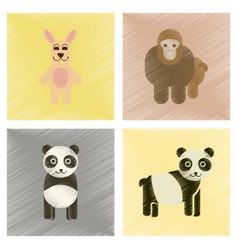 Assembly flat shading style icons panda monkey vector