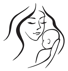 Baby and mother outline vector