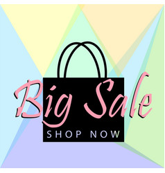 Big sale poster or banner with black bag and vector