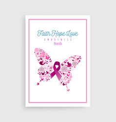 Breast cancer awareness pink ribbon icon butterfly vector