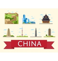 China travel set of famous asian buildings vector