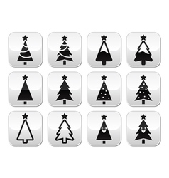 Christmas tree buttons set vector image vector image