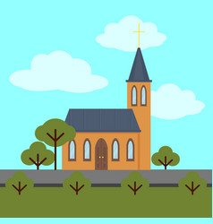 colorful church building template vector image