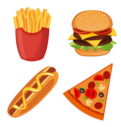 colorful icons with fast food meals isolated set vector image vector image