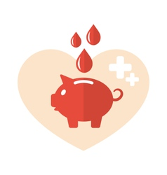 Concept flat medical icons of piggy bank as blood vector