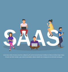 Concept of saas software as a service men and vector
