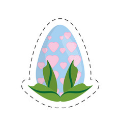 easter egg heart decoration leaves - cut line vector image