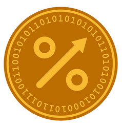 Growing percent digital coin vector