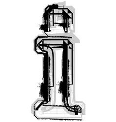 Grunge font letter i vector