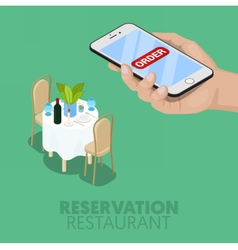 Isometric online reservation of restaurant table vector