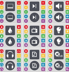 Laptop media skip sound drop retro tv light bulb vector