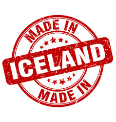 Made in iceland red grunge round stamp vector