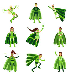 Male and female eco superheroes characters set vector