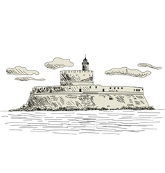 rhodes fort vector image vector image