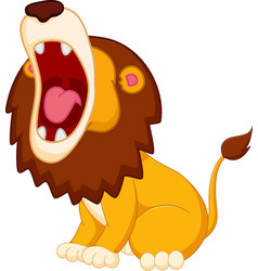 roaring lion cartoon vector image vector image